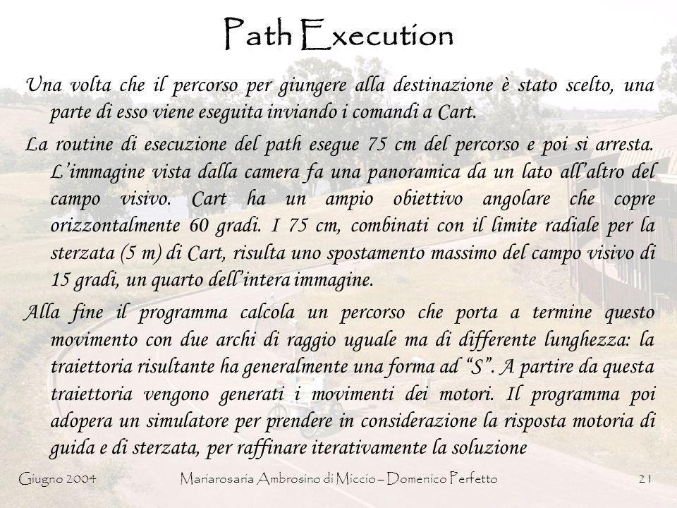 Giugno 2004Mariarosaria Ambrosino di Miccio – Domenico Perfetto21 Path Execution Una volta che il percorso per giungere alla destinazione è stato scel