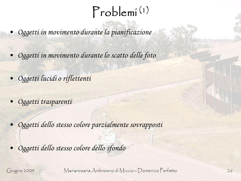 Giugno 2004Mariarosaria Ambrosino di Miccio – Domenico Perfetto26 Problemi (1) Oggetti in movimento durante la pianificazione Oggetti in movimento dur