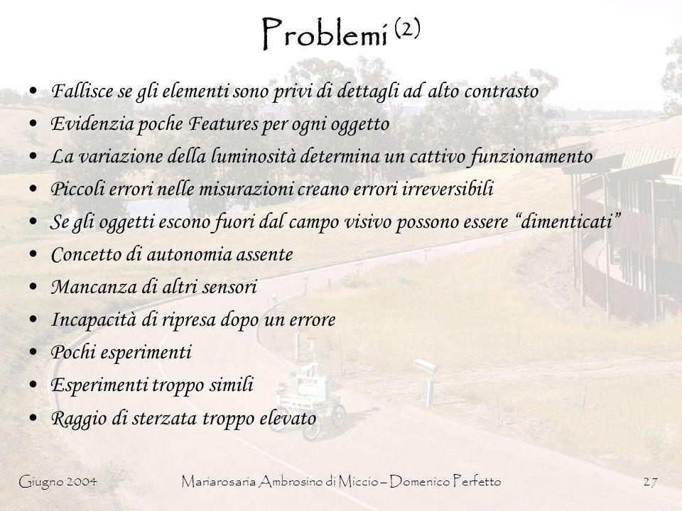 Giugno 2004Mariarosaria Ambrosino di Miccio – Domenico Perfetto27 Problemi (2) Fallisce se gli elementi sono privi di dettagli ad alto contrasto Evide