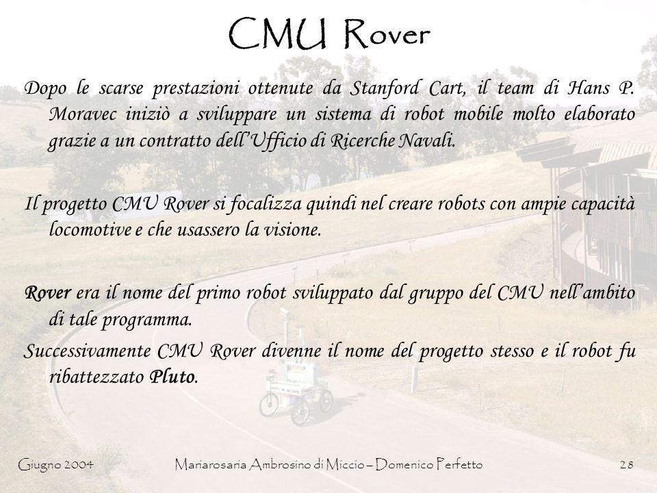 Giugno 2004Mariarosaria Ambrosino di Miccio – Domenico Perfetto28 CMU Rover Dopo le scarse prestazioni ottenute da Stanford Cart, il team di Hans P. M