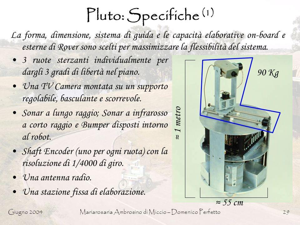Giugno 2004Mariarosaria Ambrosino di Miccio – Domenico Perfetto29 Pluto: Specifiche (1) La forma, dimensione, sistema di guida e le capacità elaborati