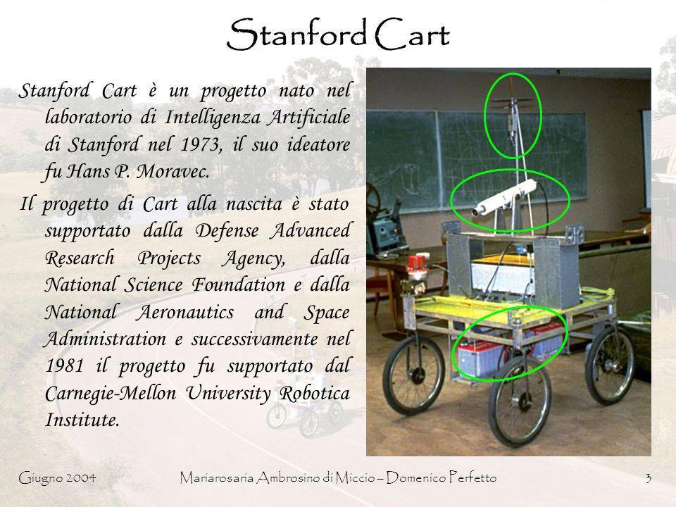 Giugno 2004Mariarosaria Ambrosino di Miccio – Domenico Perfetto3 Stanford Cart Stanford Cart è un progetto nato nel laboratorio di Intelligenza Artifi