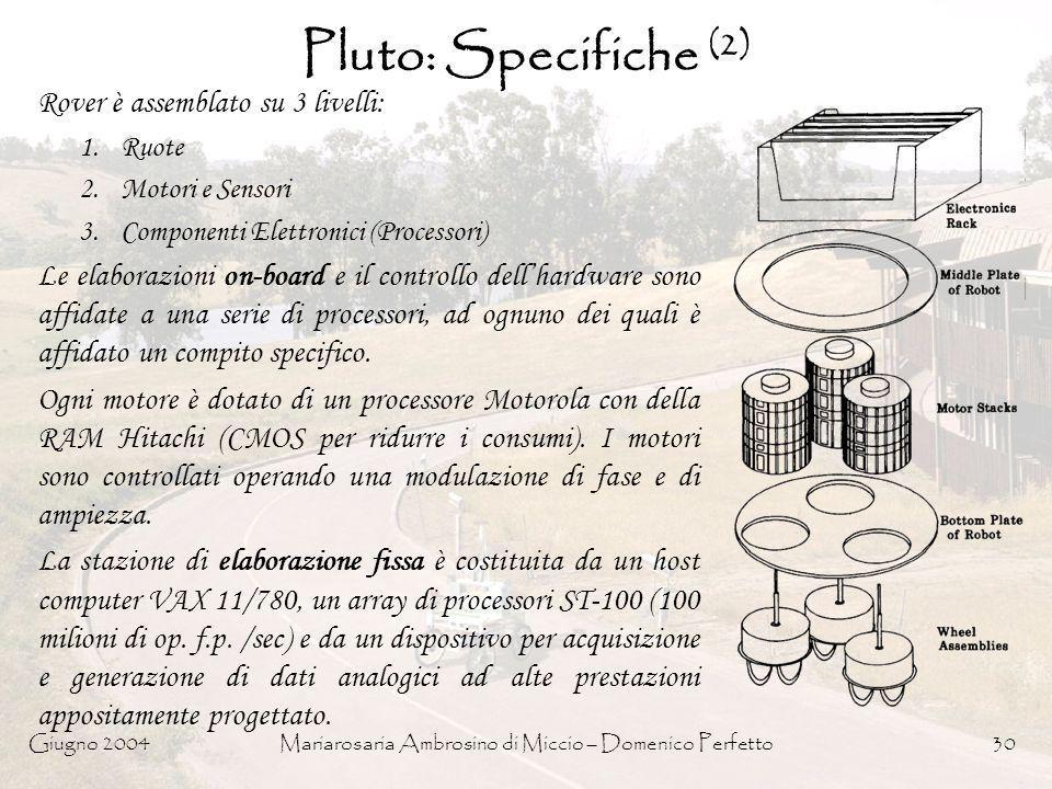 Giugno 2004Mariarosaria Ambrosino di Miccio – Domenico Perfetto30 Pluto: Specifiche (2) Rover è assemblato su 3 livelli: 1.Ruote 2.Motori e Sensori 3.