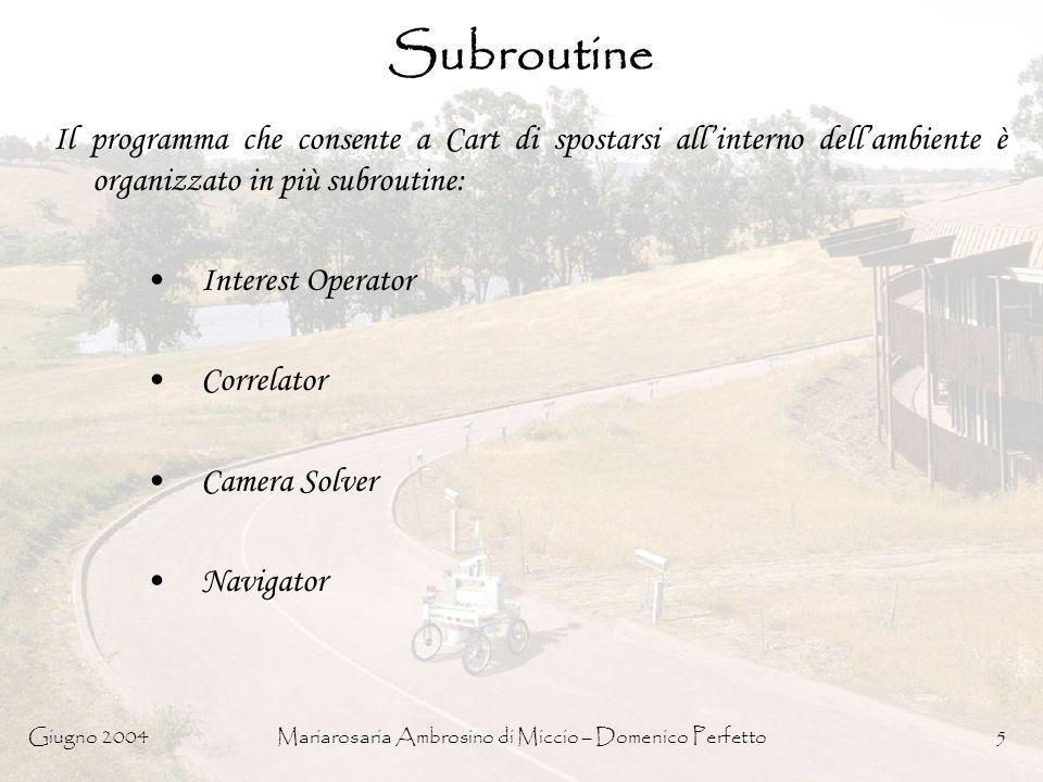 Giugno 2004Mariarosaria Ambrosino di Miccio – Domenico Perfetto5 Subroutine Il programma che consente a Cart di spostarsi allinterno dellambiente è or