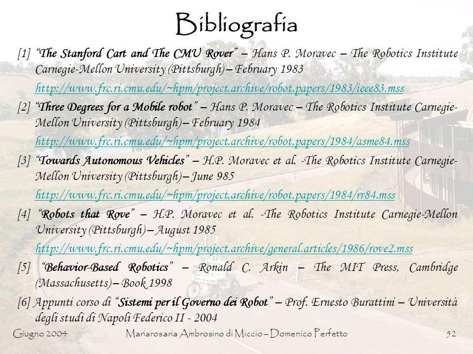 Giugno 2004Mariarosaria Ambrosino di Miccio – Domenico Perfetto52 Bibliografia [1] The Stanford Cart and The CMU Rover – Hans P. Moravec – The Robotic