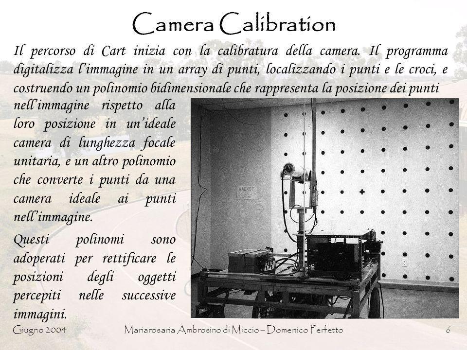 Giugno 2004Mariarosaria Ambrosino di Miccio – Domenico Perfetto7 Acquisizione delle immagini (1) Ogni volta che Cart si ferma il suo computer controlla litinerario e attiva un meccanismo che fa scorrere la camera catturando 9 immagini da sinistra a destra lungo un asse trasversale di 52cm, ad una distanza di 6.5 cm di spazio luna dallaltra.