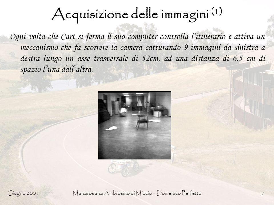 Giugno 2004Mariarosaria Ambrosino di Miccio – Domenico Perfetto7 Acquisizione delle immagini (1) Ogni volta che Cart si ferma il suo computer controll
