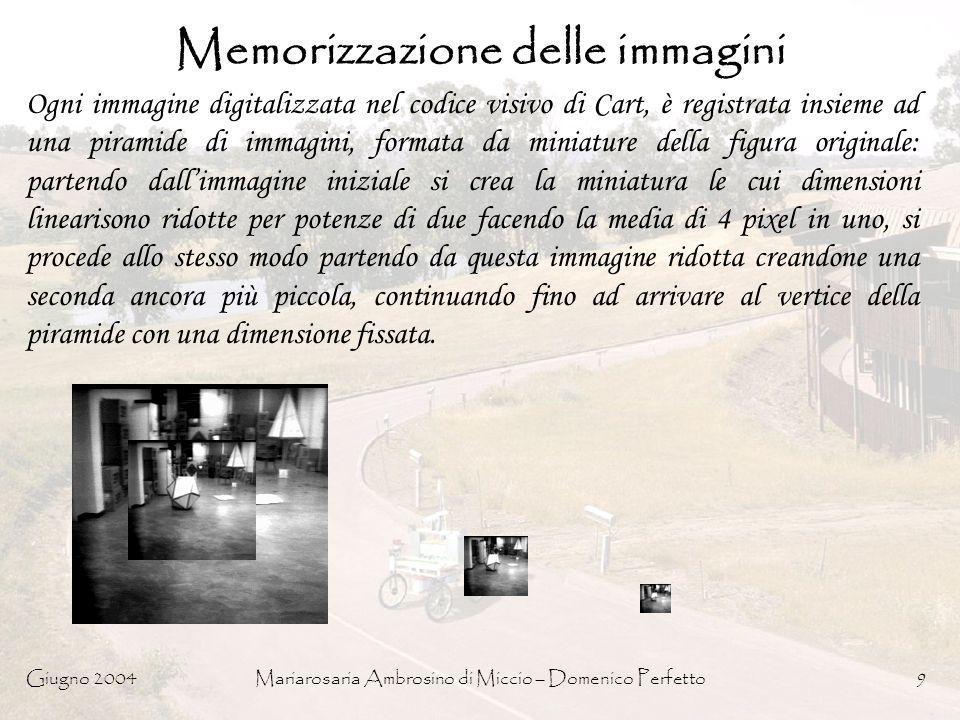Giugno 2004Mariarosaria Ambrosino di Miccio – Domenico Perfetto9 Memorizzazione delle immagini Ogni immagine digitalizzata nel codice visivo di Cart,