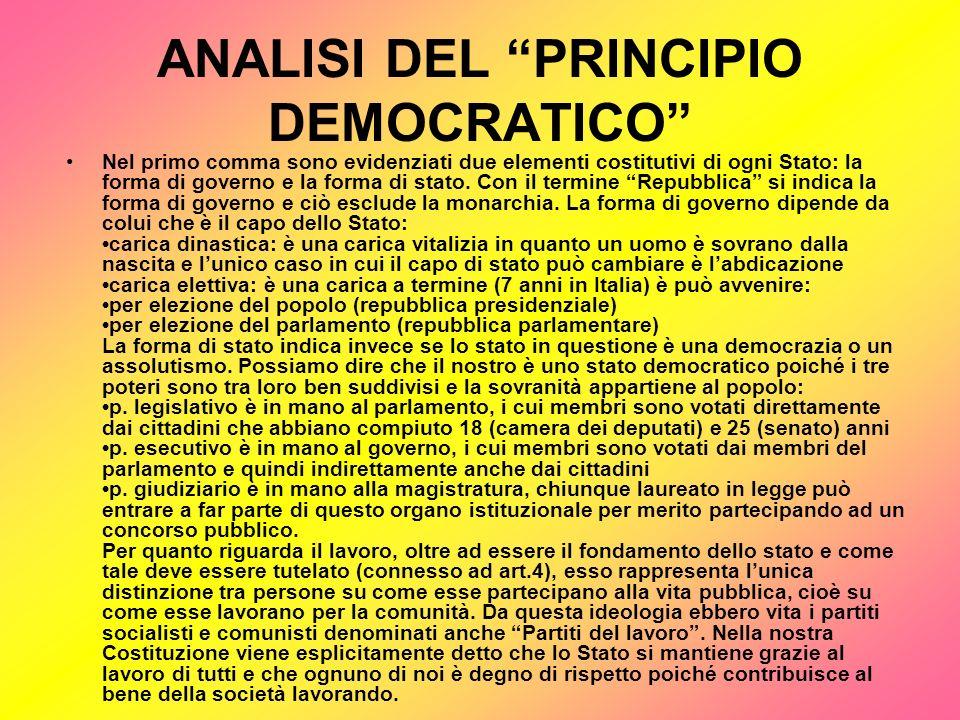 ANALISI DEL PRINCIPIO DEL DIRITTO AL LAVORO Il fatto che vengano nominati i cittadini significa che comunque i diritti sono riconosciuti solo alle persone che possiedono la cittadinanza italiana ed è quindi un diritto limitato.