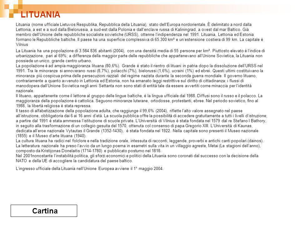 LITUANIA Cartina Lituania (nome ufficiale Lietuvos Respublika, Repubblica della Lituania), stato dell Europa nordorientale.