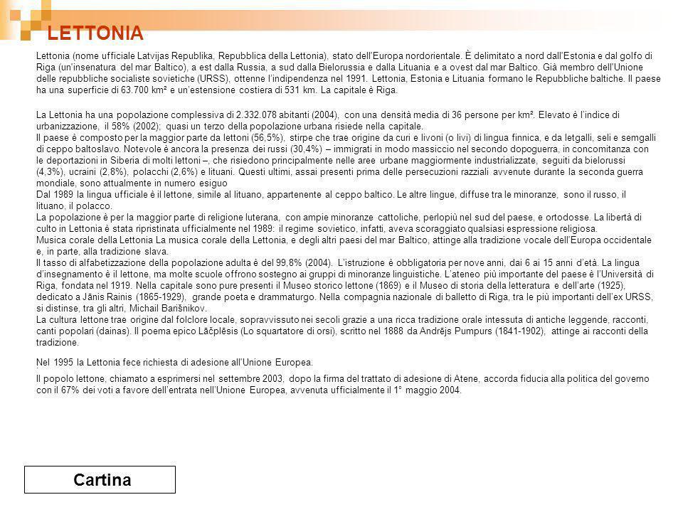 LETTONIA Cartina Lettonia (nome ufficiale Latvijas Republika, Repubblica della Lettonia), stato dell Europa nordorientale.