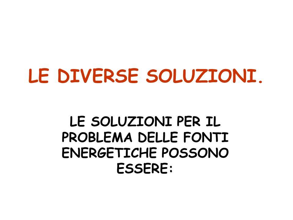 LE DIVERSE SOLUZIONI. LE SOLUZIONI PER IL PROBLEMA DELLE FONTI ENERGETICHE POSSONO ESSERE: