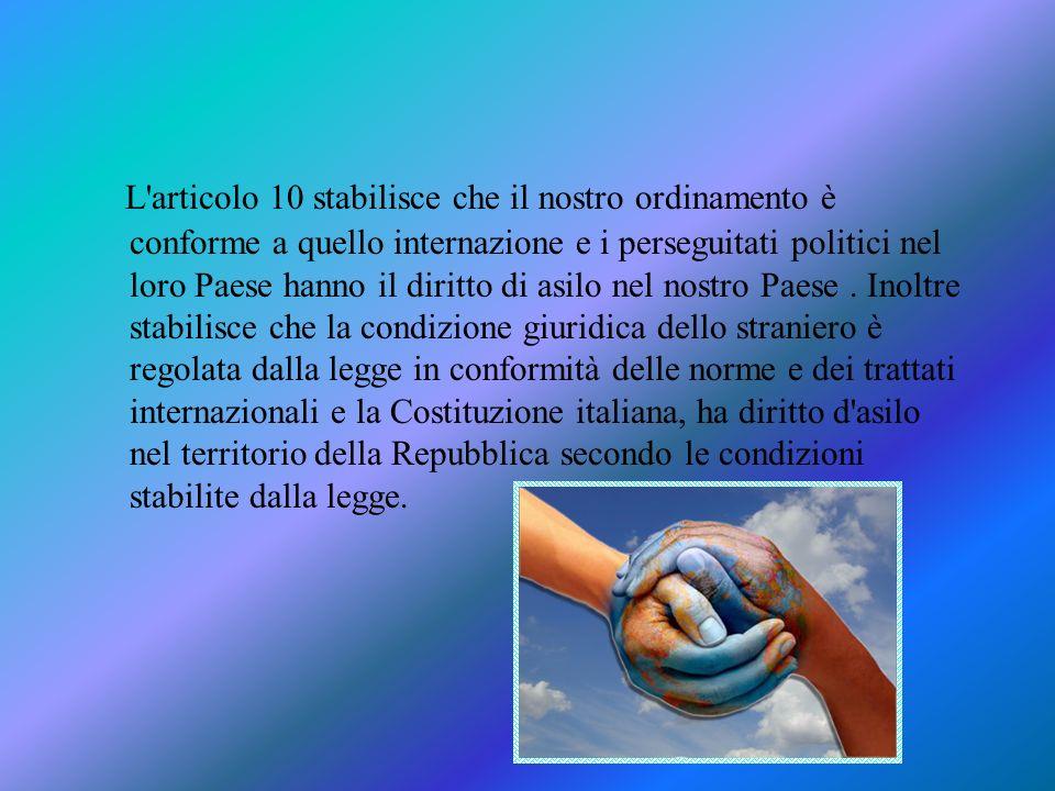 L'articolo 10 stabilisce che il nostro ordinamento è conforme a quello internazione e i perseguitati politici nel loro Paese hanno il diritto di asilo
