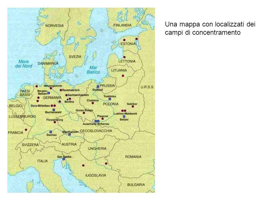 Una mappa con localizzati dei campi di concentramento