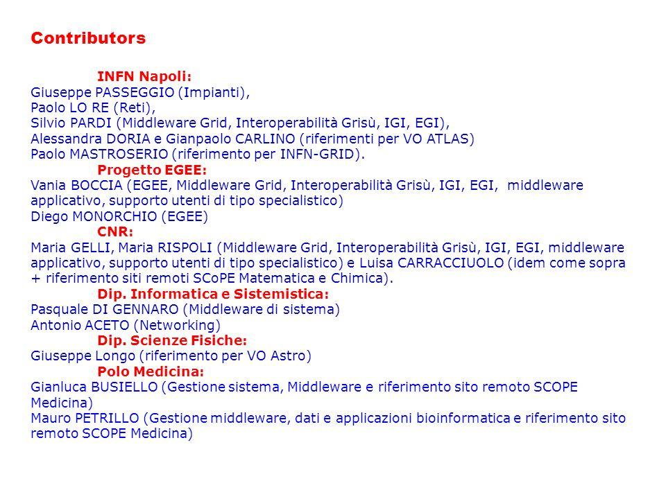 Contributors INFN Napoli: Giuseppe PASSEGGIO (Impianti), Paolo LO RE (Reti), Silvio PARDI (Middleware Grid, Interoperabilità Grisù, IGI, EGI), Alessandra DORIA e Gianpaolo CARLINO (riferimenti per VO ATLAS) Paolo MASTROSERIO (riferimento per INFN-GRID).