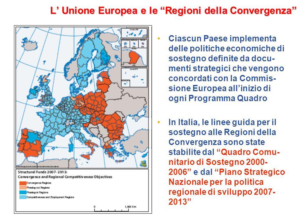 L Unione Europea e le Regioni della Convergenza Ciascun Paese implementa delle politiche economiche di sostegno definite da docu- menti strategici che vengono concordati con la Commis- sione Europea allinizio di ogni Programma Quadro In Italia, le linee guida per il sostegno alle Regioni della Convergenza sono state stabilite dal Quadro Comu- nitario di Sostegno 2000- 2006 e dal Piano Strategico Nazionale per la politica regionale di sviluppo 2007- 2013