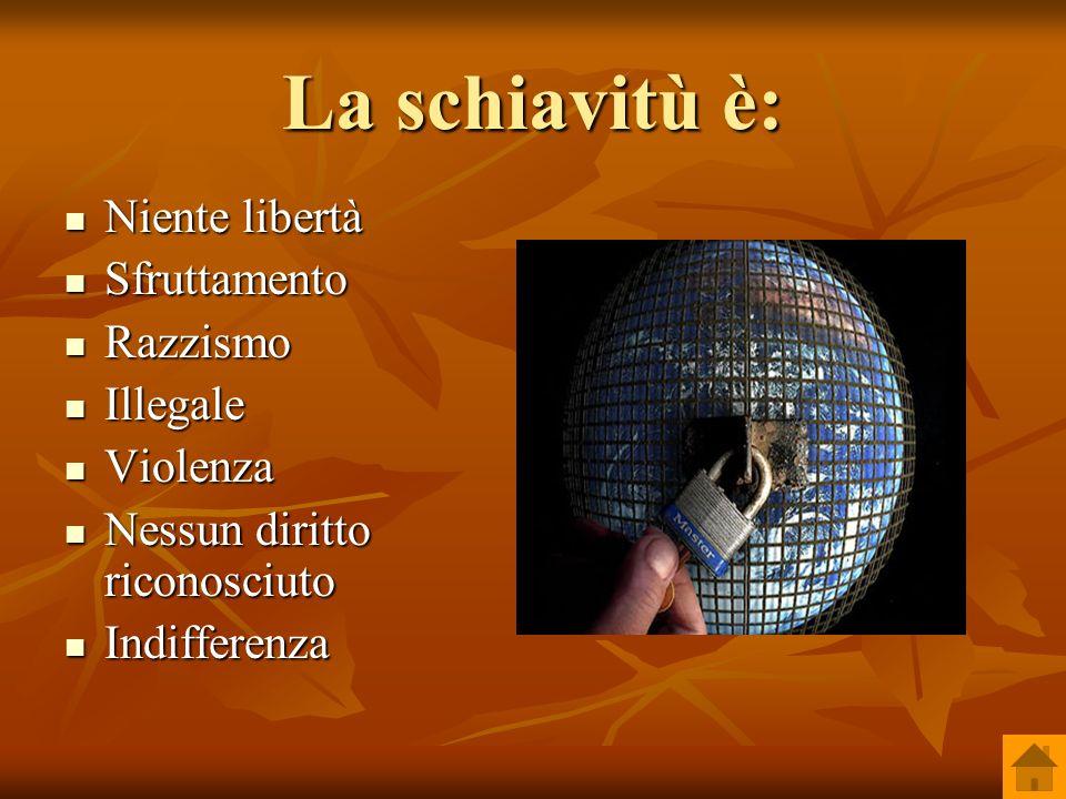 La schiavitù è: Niente libertà Niente libertà Sfruttamento Sfruttamento Razzismo Razzismo Illegale Illegale Violenza Violenza Nessun diritto riconosci