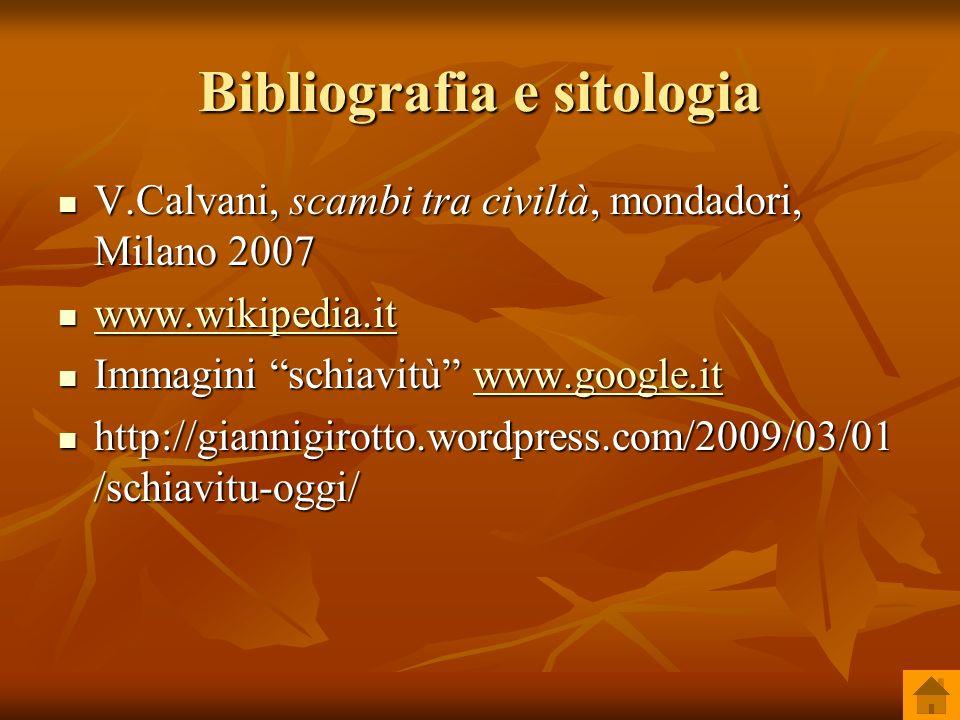 Bibliografia e sitologia V.Calvani, scambi tra civiltà, mondadori, Milano 2007 V.Calvani, scambi tra civiltà, mondadori, Milano 2007 www.wikipedia.it