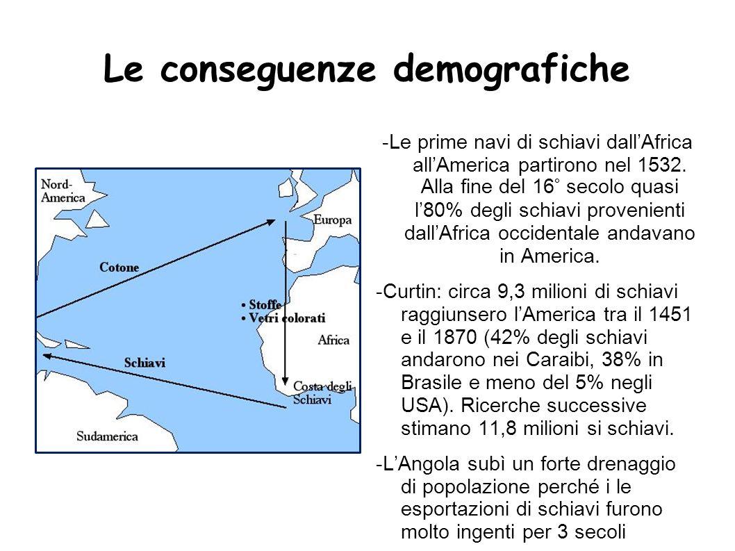 Le conseguenze demografiche -Le prime navi di schiavi dallAfrica allAmerica partirono nel 1532. Alla fine del 16° secolo quasi l80% degli schiavi prov