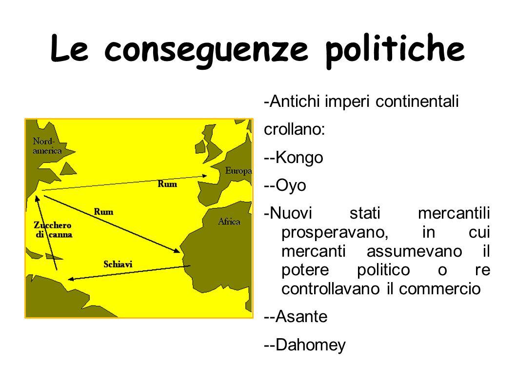 Le conseguenze politiche -Antichi imperi continentali crollano: --Kongo --Oyo -Nuovi stati mercantili prosperavano, in cui mercanti assumevano il pote