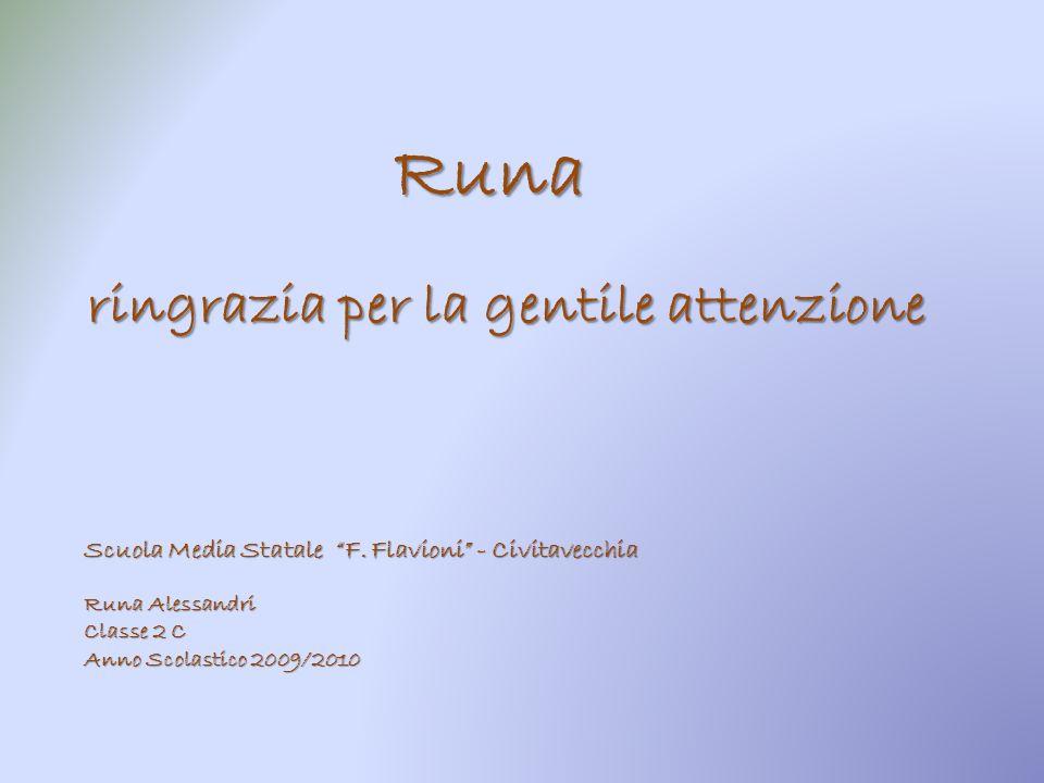 ringrazia per la gentile attenzione Runa Scuola Media Statale F. Flavioni - Civitavecchia Runa Alessandri Classe 2 C Anno Scolastico 2009/2010