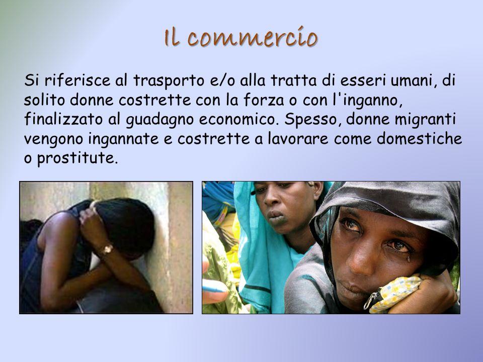 Il commercio Si riferisce al trasporto e/o alla tratta di esseri umani, di solito donne costrette con la forza o con l'inganno, finalizzato al guadagn