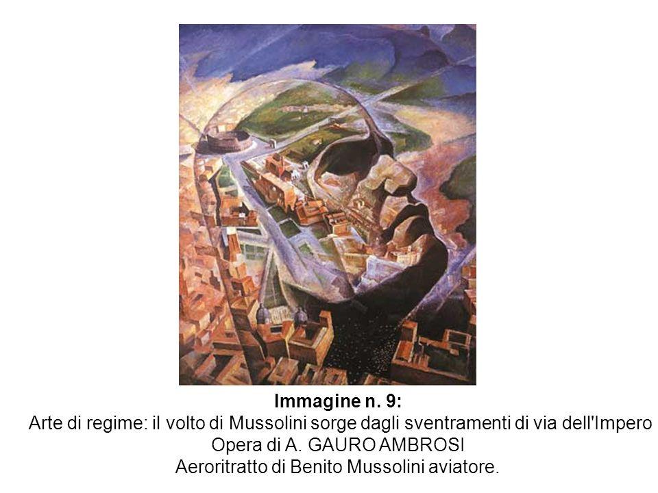 Immagine n. 9: Arte di regime: il volto di Mussolini sorge dagli sventramenti di via dell'Impero Opera di A. GAURO AMBROSI Aeroritratto di Benito Muss