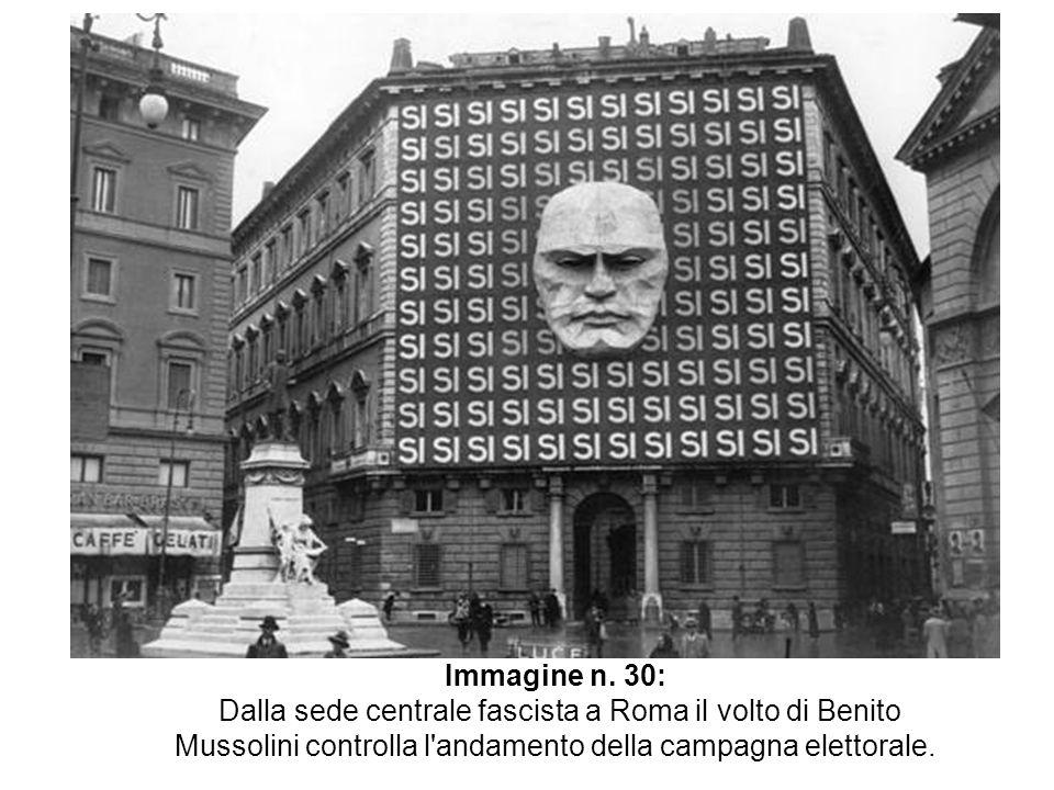 Immagine n. 30: Dalla sede centrale fascista a Roma il volto di Benito Mussolini controlla l'andamento della campagna elettorale.
