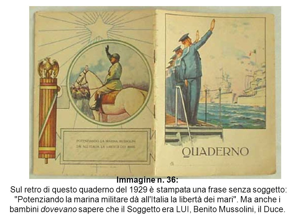 Immagine n. 36: Sul retro di questo quaderno del 1929 è stampata una frase senza soggetto: