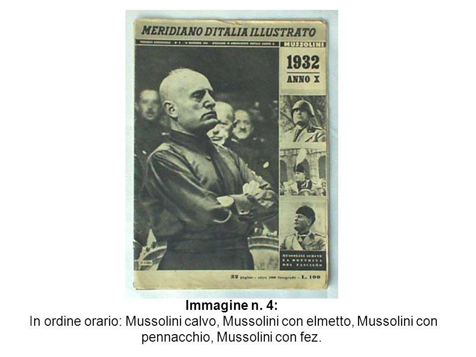 Immagine n. 4: In ordine orario: Mussolini calvo, Mussolini con elmetto, Mussolini con pennacchio, Mussolini con fez.