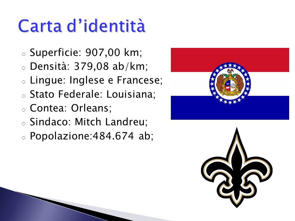 o Superficie: 907,00 km; o Densità: 379,08 ab/km; o Lingue: Inglese e Francese; o Stato Federale: Louisiana; o Contea: Orleans; o Sindaco: Mitch Landr