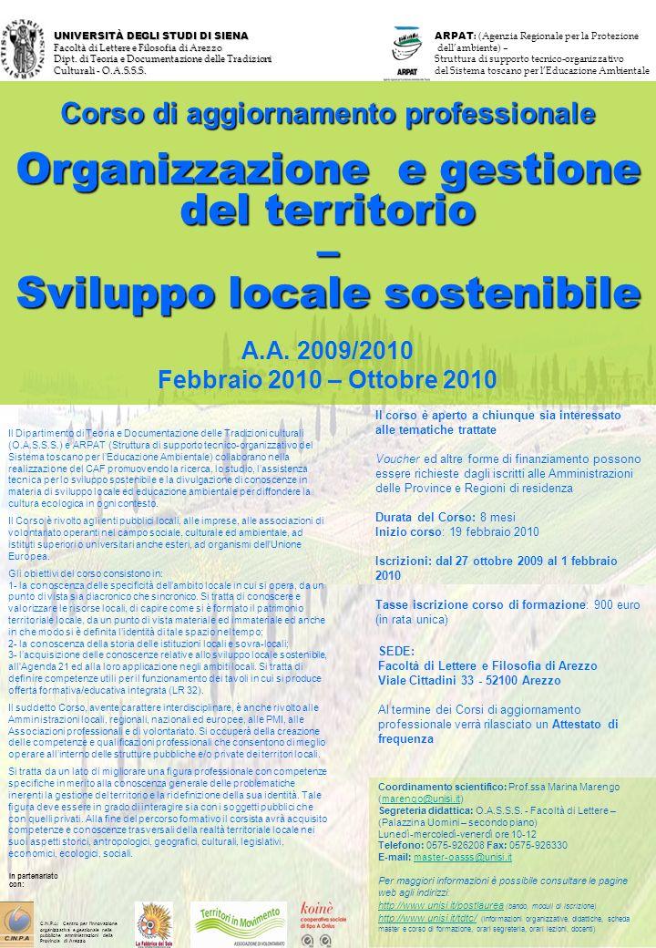 UNIVERSITÀ DEGLI STUDI DI SIENA Facoltà di Lettere e Filosofia di Arezzo Dipt.