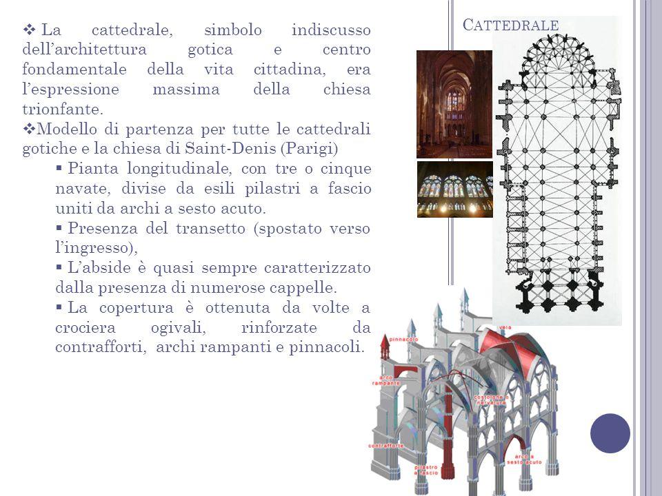 Elementi innovativi Accentuato verticalismo Uso dellarco a sesto acuto Uso della volta a crociera ogivale.