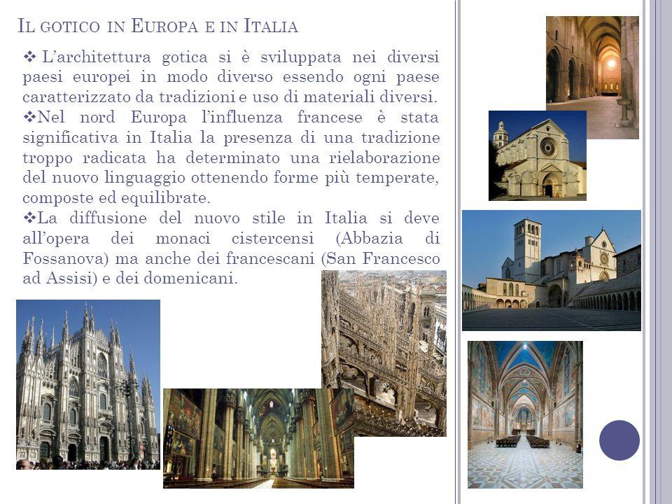 I L GOTICO IN E UROPA E IN I TALIA Larchitettura gotica si è sviluppata nei diversi paesi europei in modo diverso essendo ogni paese caratterizzato da