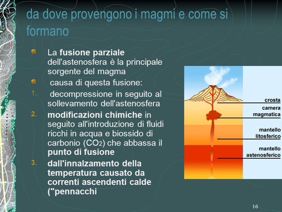 16 La fusione parziale dell astenosfera è la principale sorgente del magma causa di questa fusione: 1.