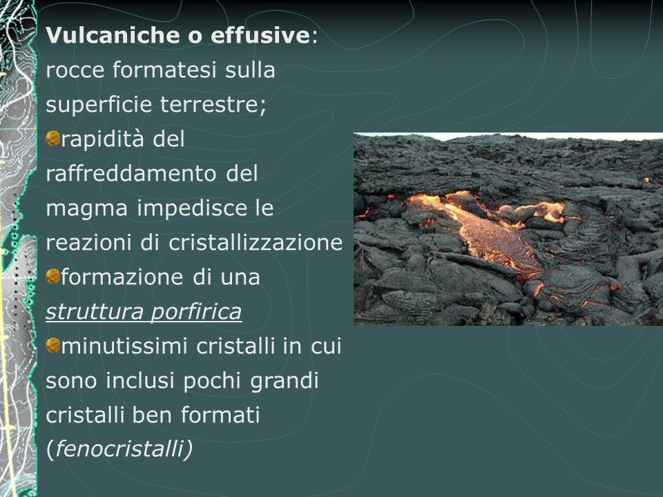 Vulcaniche o effusive: rocce formatesi sulla superficie terrestre; rapidità del raffreddamento del magma impedisce le reazioni di cristallizzazione formazione di una struttura porfirica minutissimi cristalli in cui sono inclusi pochi grandi cristalli ben formati (fenocristalli)