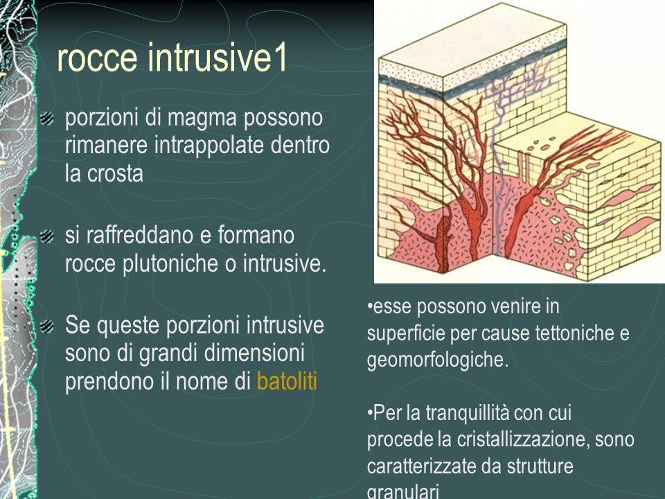 rocce intrusive1 porzioni di magma possono rimanere intrappolate dentro la crosta si raffreddano e formano rocce plutoniche o intrusive.