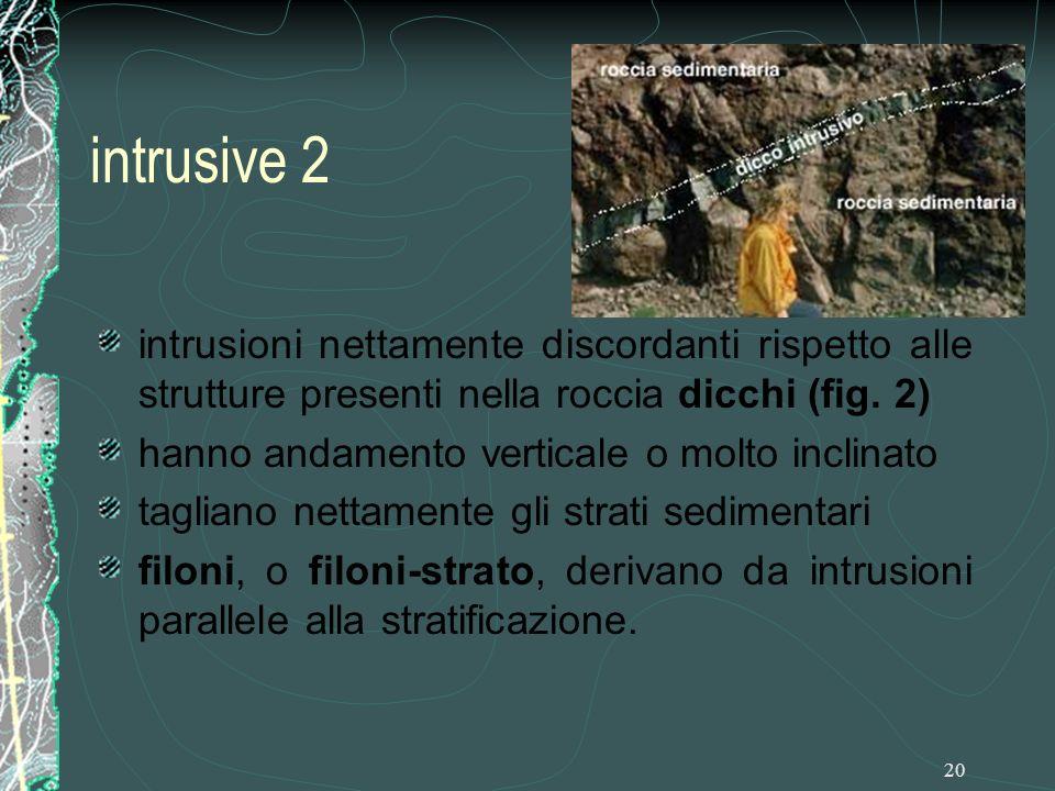 20 intrusive 2 intrusioni nettamente discordanti rispetto alle strutture presenti nella roccia dicchi (fig.