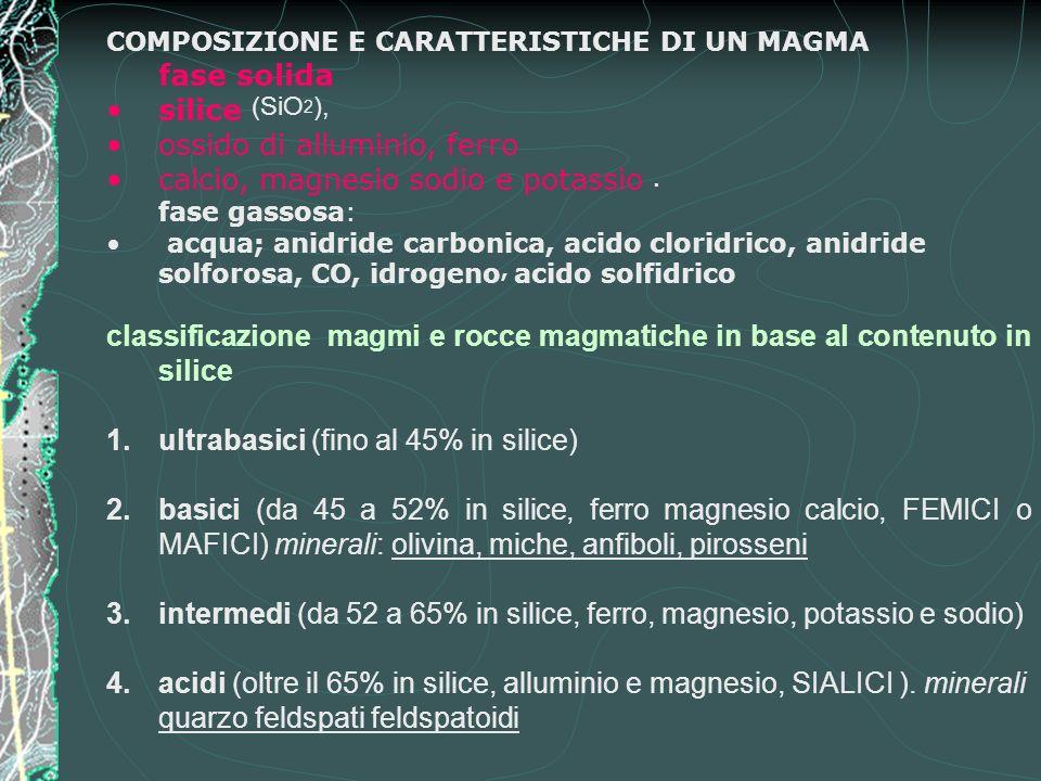 COMPOSIZIONE E CARATTERISTICHE DI UN MAGMA fase solida silice (SiO 2 ), ossido di alluminio, ferro calcio, magnesio sodio e potassio.
