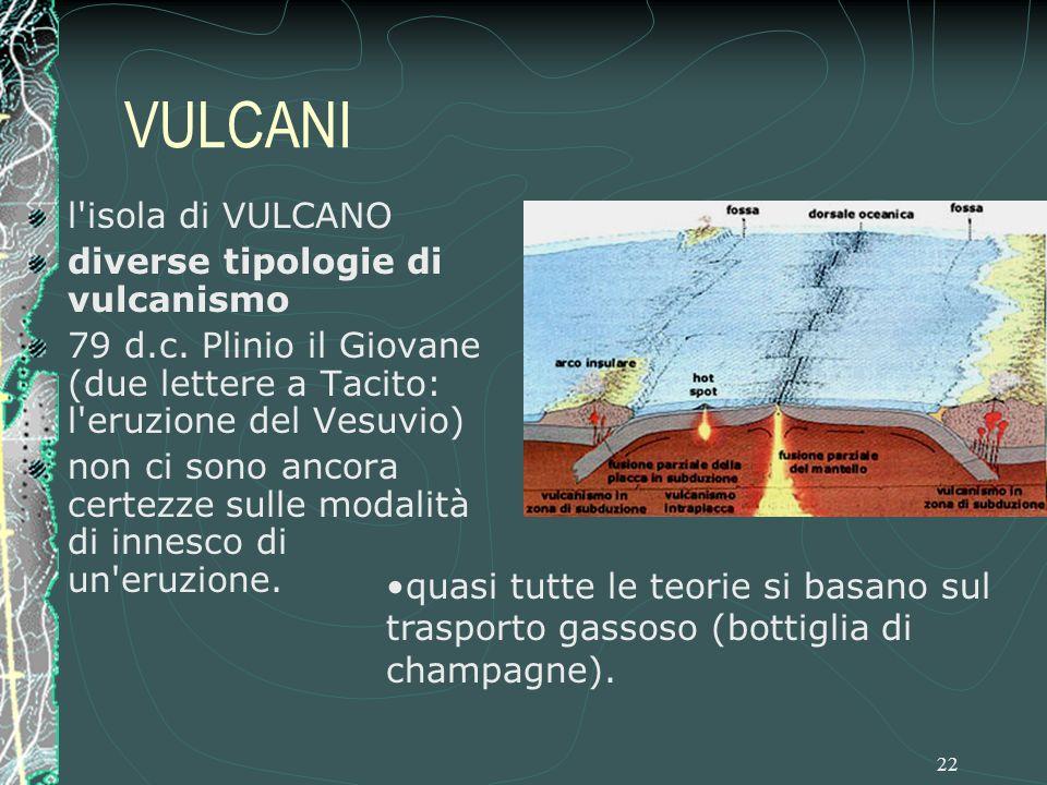 22 VULCANI l isola di VULCANO diverse tipologie di vulcanismo 79 d.c.