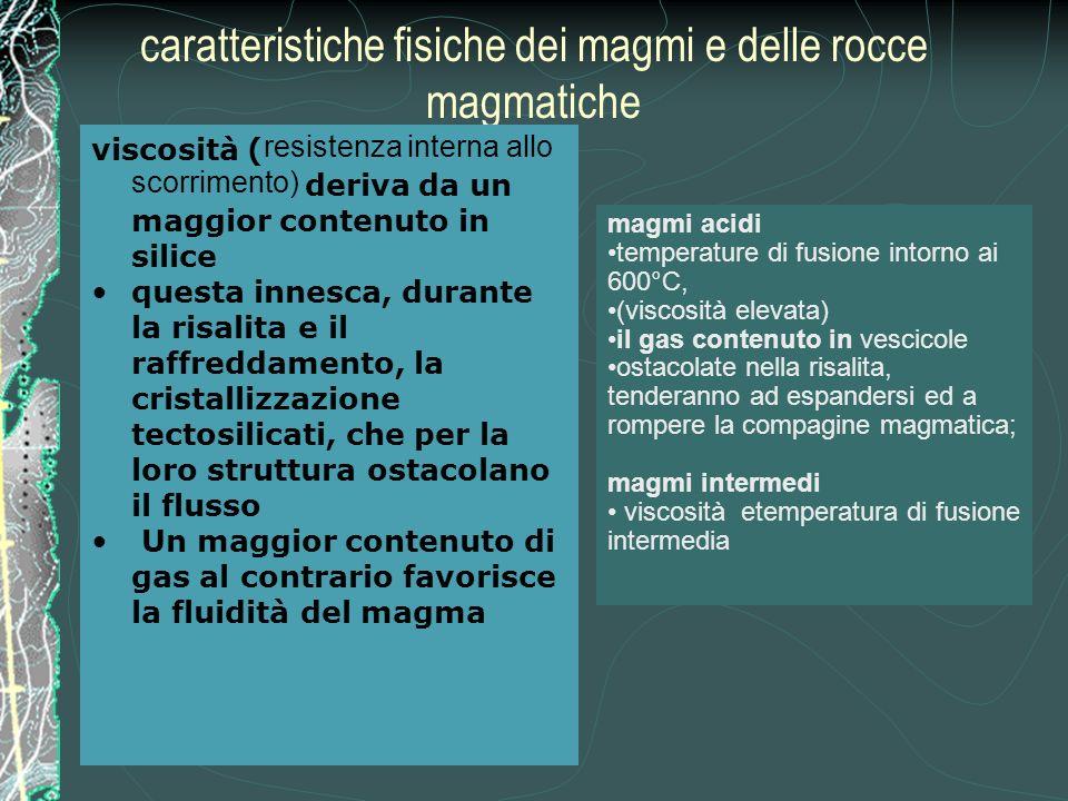 caratteristiche fisiche dei magmi e delle rocce magmatiche viscosità ( resistenza interna allo scorrimento) deriva da un maggior contenuto in silice questa innesca, durante la risalita e il raffreddamento, la cristallizzazione tectosilicati, che per la loro struttura ostacolano il flusso Un maggior contenuto di gas al contrario favorisce la fluidità del magma magmi acidi temperature di fusione intorno ai 600°C, (viscosità elevata) il gas contenuto in vescicole ostacolate nella risalita, tenderanno ad espandersi ed a rompere la compagine magmatica; magmi intermedi viscosità etemperatura di fusione intermedia