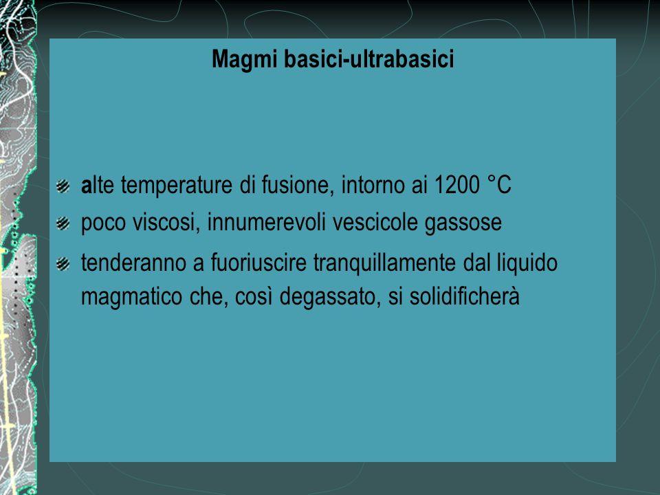 Magmi basici-ultrabasici a lte temperature di fusione, intorno ai 1200 °C poco viscosi, innumerevoli vescicole gassose tenderanno a fuoriuscire tranquillamente dal liquido magmatico che, così degassato, si solidificherà