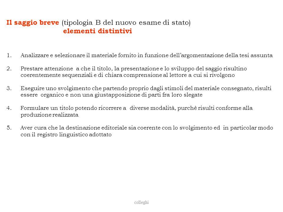 colleghi Il saggio breve (tipologia B del nuovo esame di stato) elementi distintivi 1.Analizzare e selezionare il materiale fornito in funzione dellar