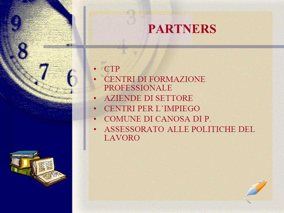 PARTNERS CTP CENTRI DI FORMAZIONE PROFESSIONALE AZIENDE DI SETTORE CENTRI PER LIMPIEGO COMUNE DI CANOSA DI P.