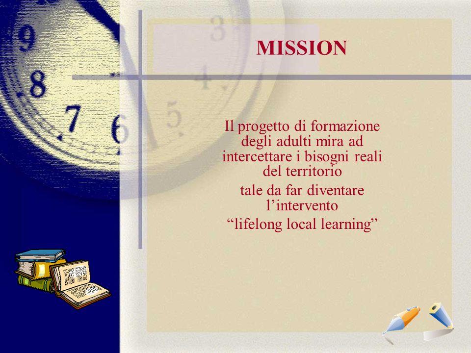 MISSION Il progetto di formazione degli adulti mira ad intercettare i bisogni reali del territorio tale da far diventare lintervento lifelong local learning