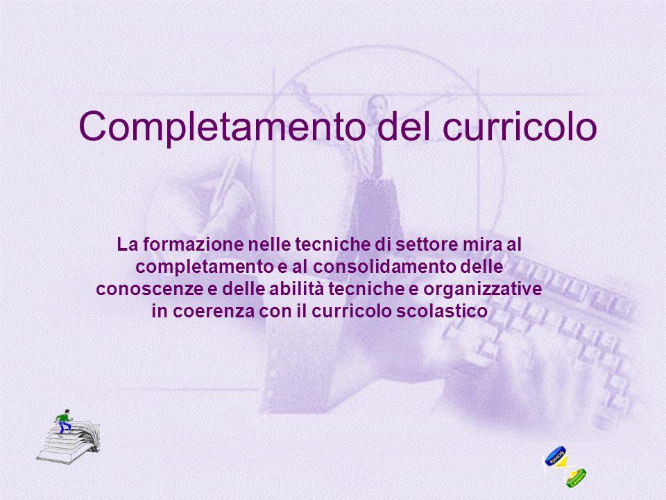 Completamento del curricolo La formazione nelle tecniche di settore mira al completamento e al consolidamento delle conoscenze e delle abilità tecniche e organizzative in coerenza con il curricolo scolastico