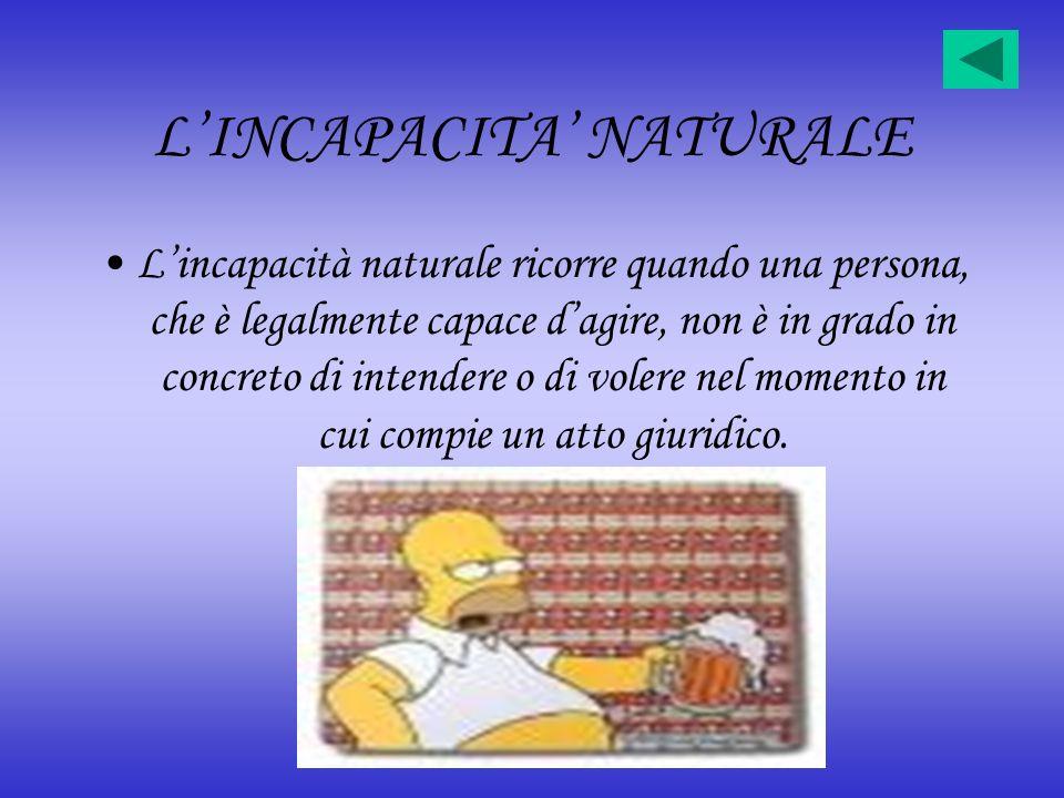 LINCAPACITA NATURALE Lincapacità naturale ricorre quando una persona, che è legalmente capace dagire, non è in grado in concreto di intendere o di vol