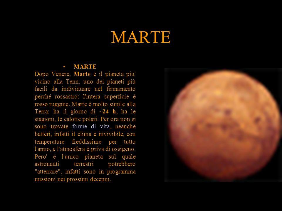 MARTE MARTE Dopo Venere, Marte é il pianeta piu' vicino alla Tenn. uno dei pianeti più facili da individuare nel firmamento perché rossastro: l'intera