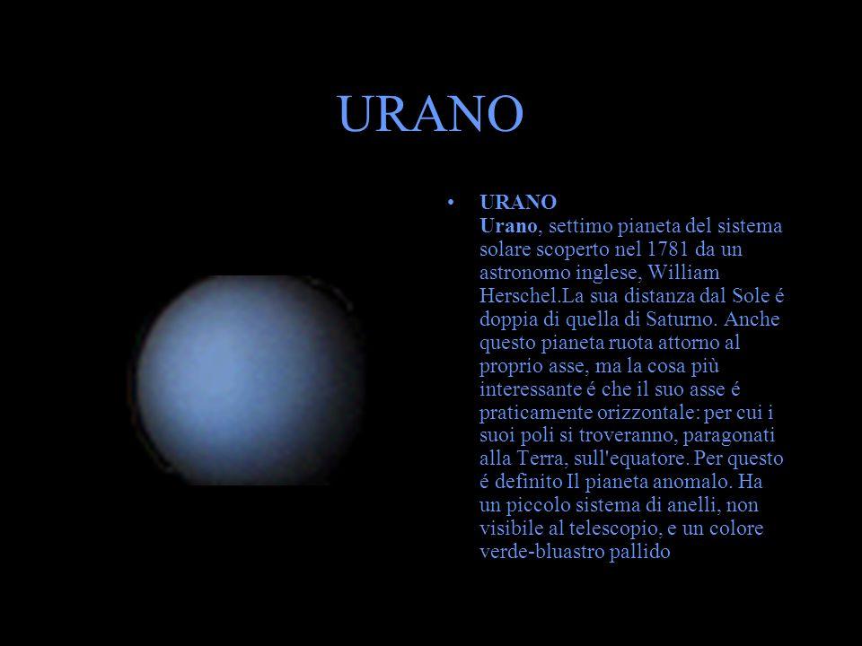 URANO URANO Urano, settimo pianeta del sistema solare scoperto nel 1781 da un astronomo inglese, William Herschel.La sua distanza dal Sole é doppia di