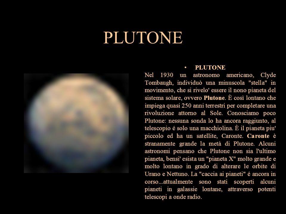 PLUTONE PLUTONE Nel 1930 un astronomo americano, Clyde Tombaugh, individuò una minuscola